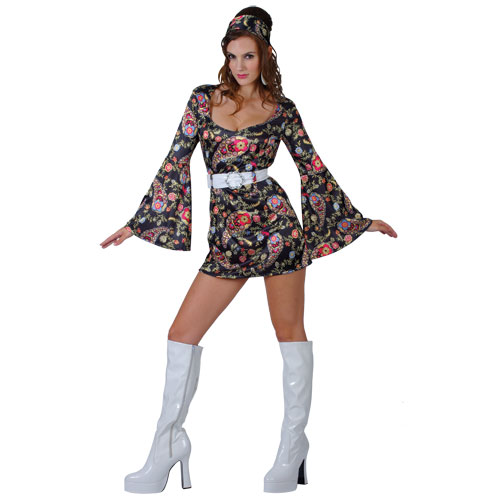 Ladies Retro Go Go Girl Paisley Pattern Costume Outfit for 60s Mod Fancy Dress 60s Flower Power