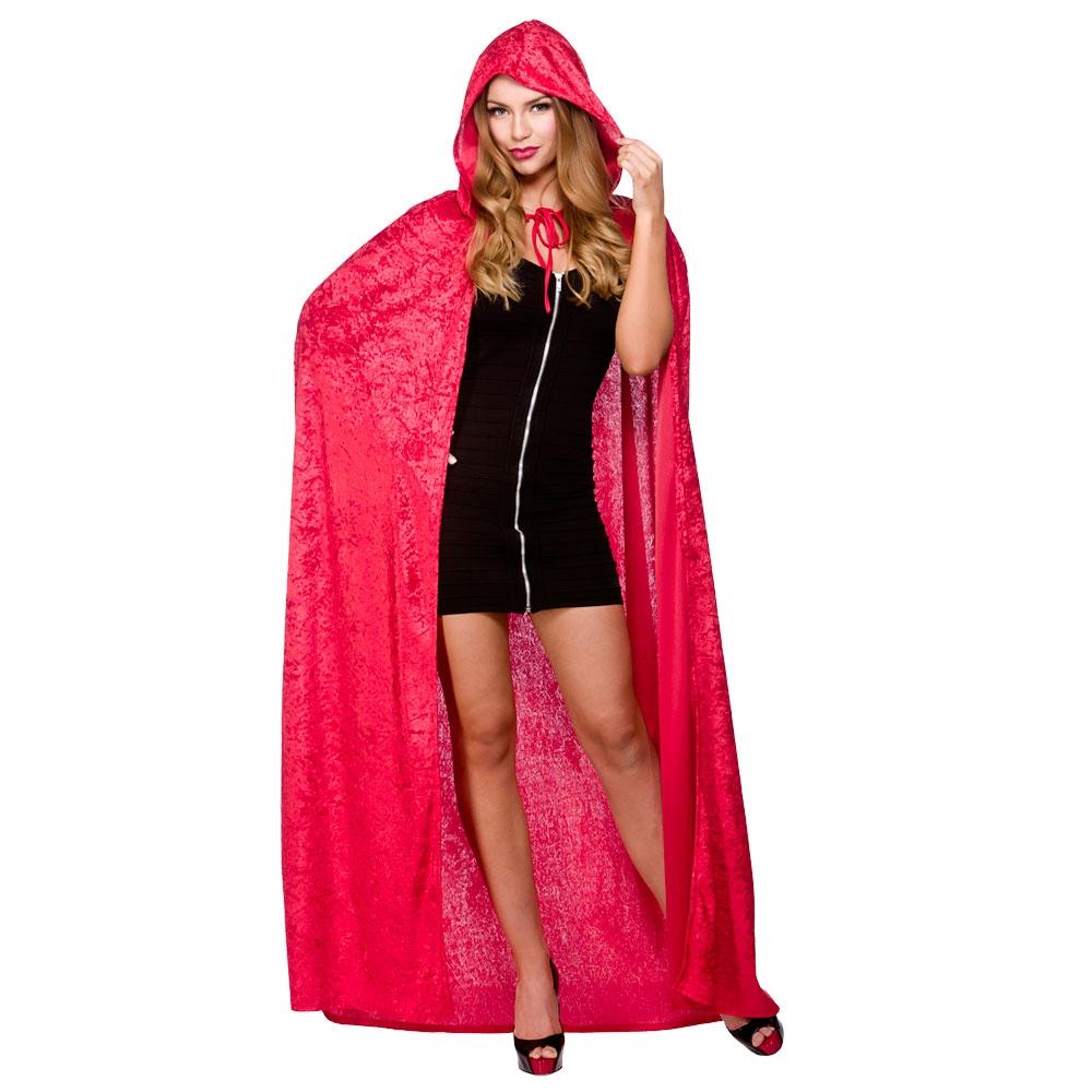 Ladies Deluxe Velvet Hooded Cape Costume for Superhero Villian Hero Fancy Dress