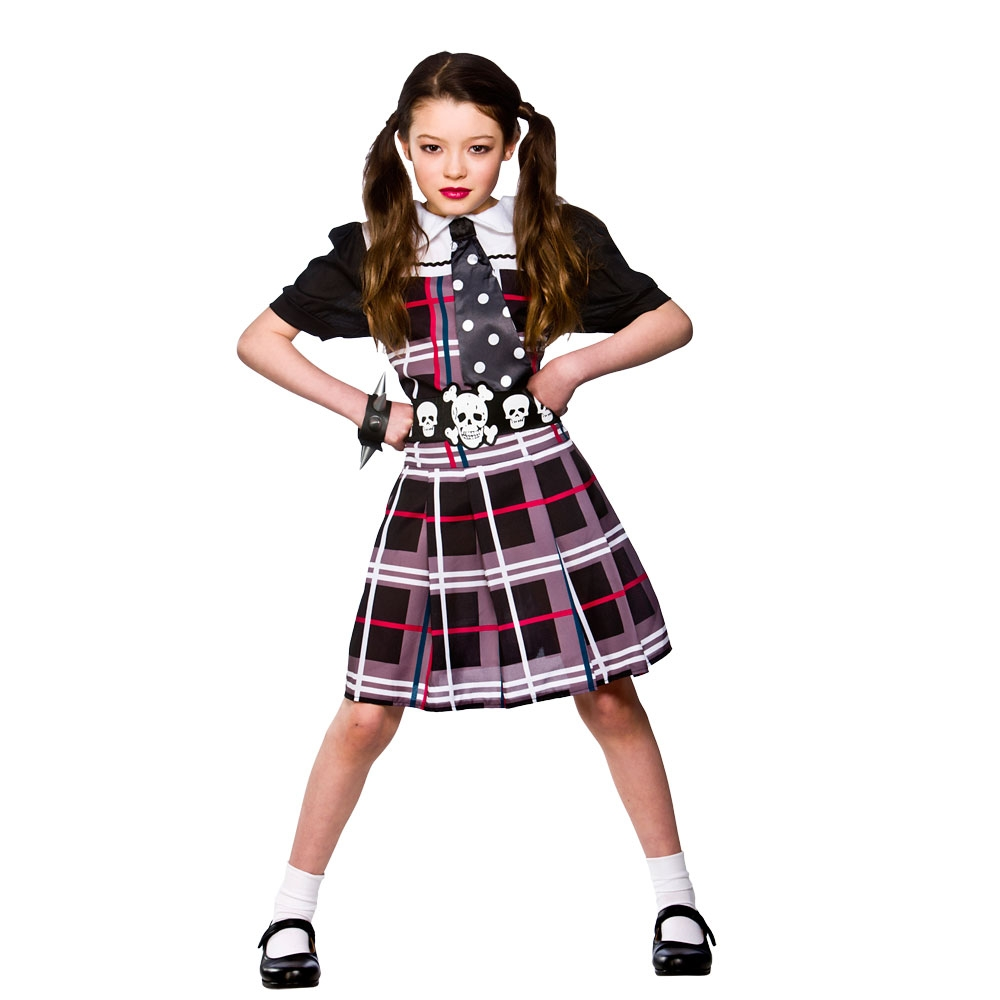 Girls Freaky Schoolgirl Halloween Costume for Fancy Dress ...
