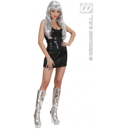 Ladies Womens Sequin Dress Costume Outfit for Disco 70s Fancy ...