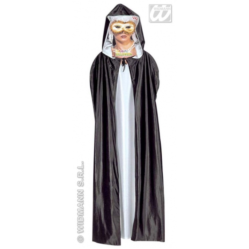HOODED CAPE SUPER DELUXE BLACK/WHITE 140 cm Accessory for Superhero Villian Super Hero Fancy Dress