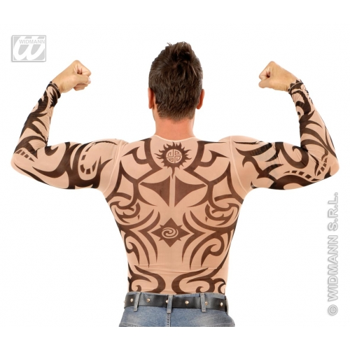 """Mens TATTOO SHIRT TRIBAL SFX for Native American Indian Cosmetics 40-44""""chest Adults Male"""
