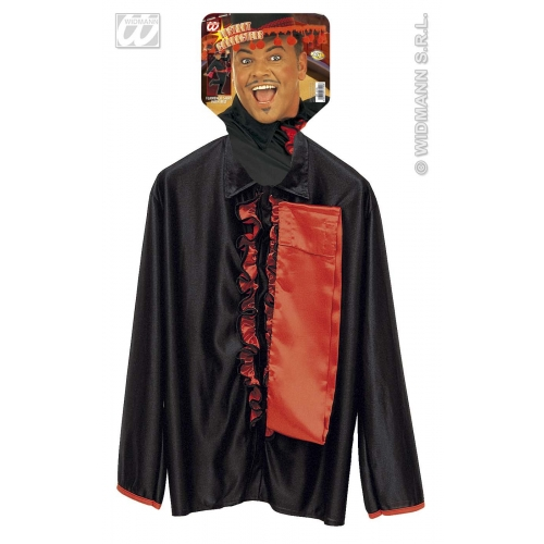 """XL Mens FLAMENCO SHIRT W/ SASH Accessory for Spanish Spain Dancer National Dress Basque Fancy Dress Extra Large 46""""chest Adults Male"""