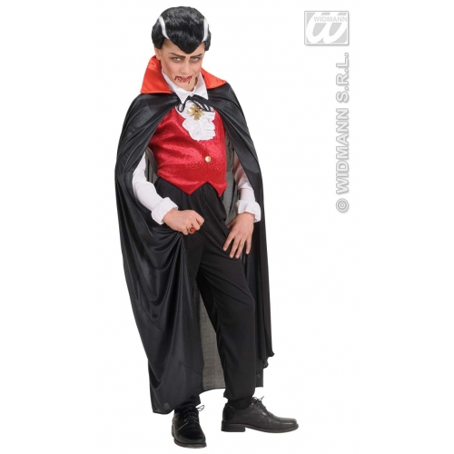 Child Unisex BLACK CAPES W/RED COLLAR SIZE Accessory for Fancy Dress Unisex Kids Girls
