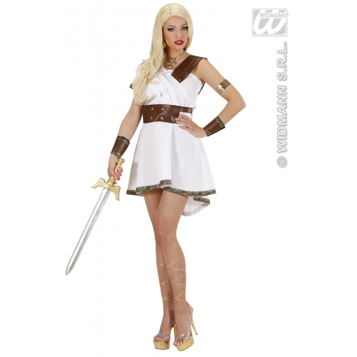 Ladies Olympia Warrior Costume Outfit for Toga Party Roman Sparticus Fancy Dress