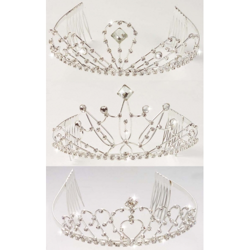 RHINESTONE TIARA 1 of 3 styles Hat Accessory for Princess Fairy Queen Fancy Dress