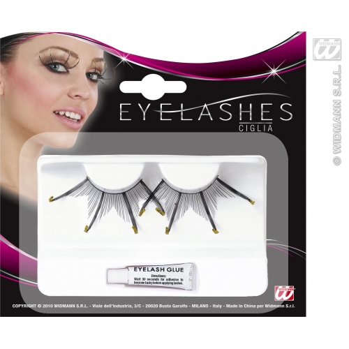 EYELASHES MAXI SPIKES W/GOLD GLITTER TIPS BLACK SFX for Cosmetics