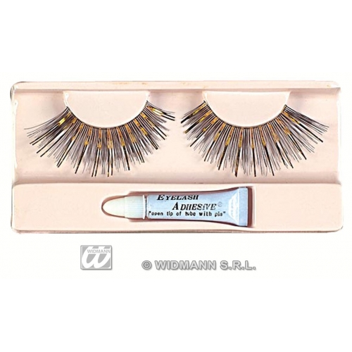 Black Silver / Gold Eyelashes Long Makeup for Accessory Stage Accessory
