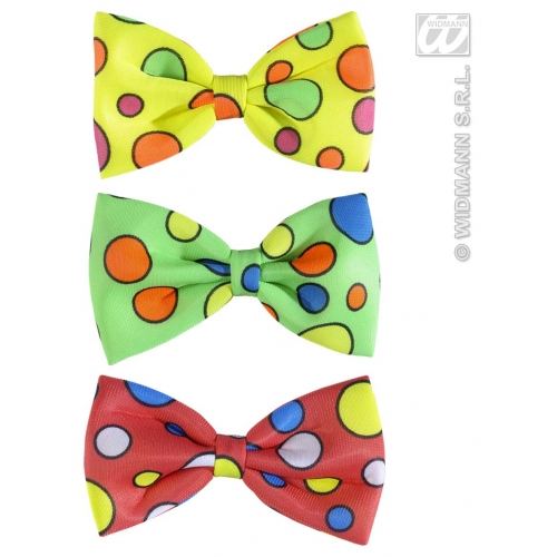 DOTTED CLOWN BOW TIES 1 of 3 colours Decoration for Circus FunFair Parade Party