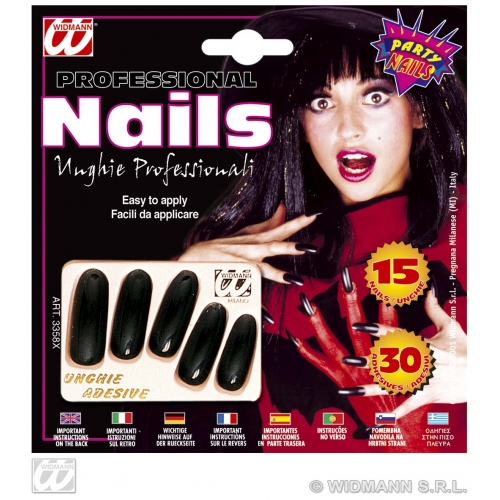 Extra Long Black Nails Makeup for Halloween Witch Stage Accessory