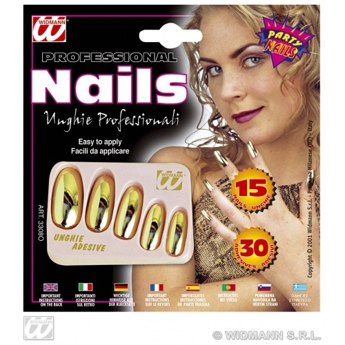 GOLD METALLIC NAILS W/ADHESIVES SFX for Cosmetics