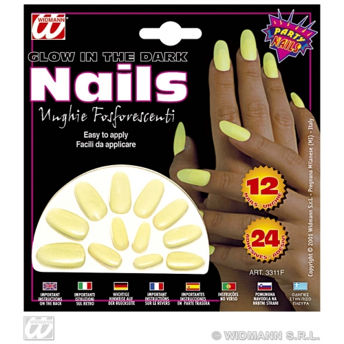 GLOW IN DARK NAILS SET 12 SFX for UV Glow-In-Dark Cosmetics