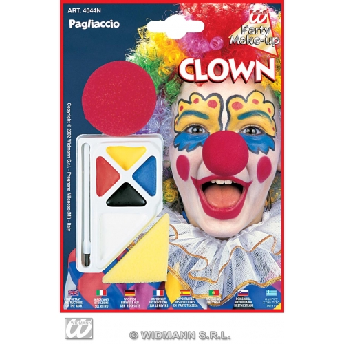 Clown Makeup Set with Nose for Circus Face Paint Stage Accessory