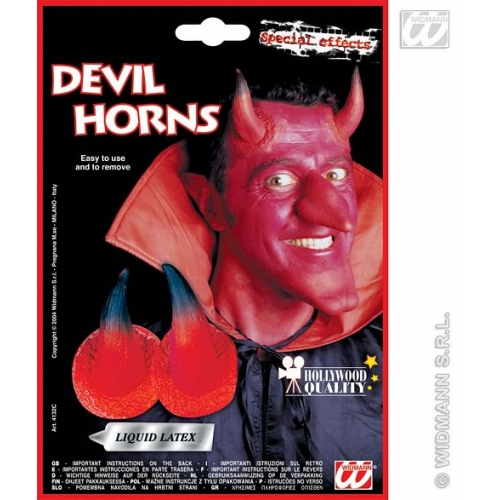 SFX DEVIL HORNS WITH ADHESIVE RED SFX for Satan Lucifer Demon Antichrist Halloween Cosmetics