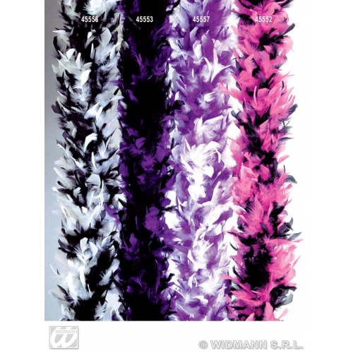 WHITE/PURPLE FEATHER BOA 65g 180cm Accessory for Flapper Molls Chorus Fancy Dress Party