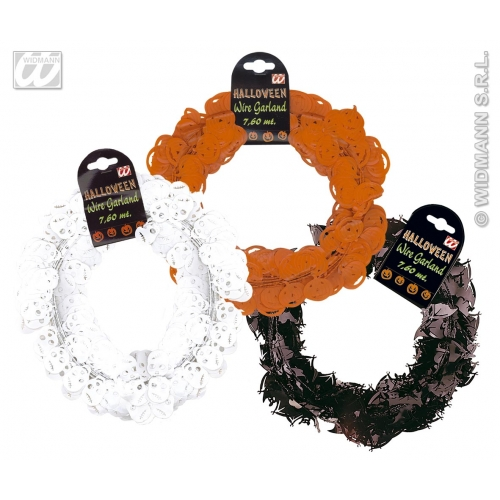 HALLOWEEN WIRE GARLAND 7.6m 1 of 4 styles Accessory for Trick Or Treat Fancy Dress Party