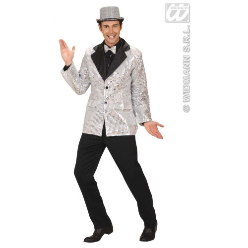 """M Mens PERFORMER SEQUIN JACKET W/SATIN COLLAR SILVER Accessory for Hollywood Show Fancy Dress Medium 40-42""""chest Adults Male"""