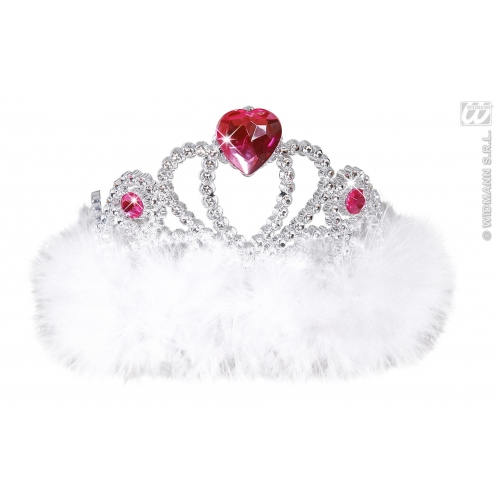 WHITE MARABOU Ladies NIGHT OUT TIARA Hat Accessory for Princess Fairy Queen Fancy Dress Adults Female