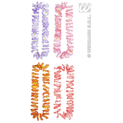 1 LUAU HAWAIIAN LEIS (lilac/pink/red/orange) Accessory for Hawaiian Tropical Beach Magnum Five O Fancy Dress Party
