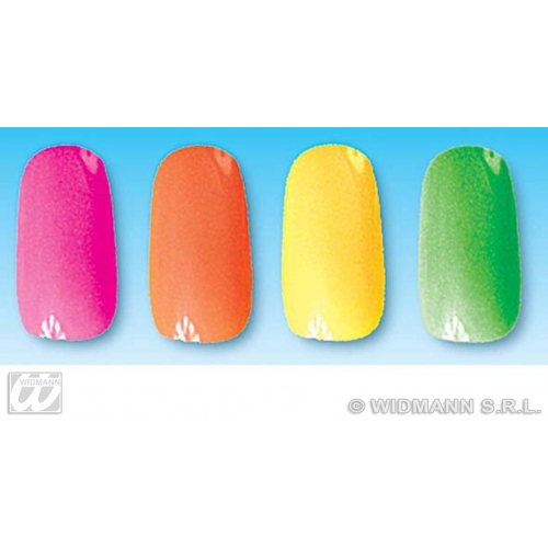 80s 90s NEON NAILS SET 12 W/24 ADHES 1 of 4 colours SFX for 80s Disco Pop Retro Cosmetics