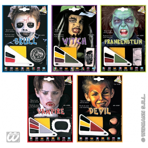 W/ACC - CHILD Child Unisex HALLOWEEN MAKEUP SET SFX for Trick Or Treat Cosmetics Unisex Kids Girls