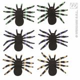 SET OF 2 FLOCKED SPIDERS 12cm green purple orange Decoration for Insects Creepy Crawlies Party