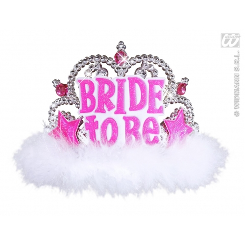 BRIDE TO BE TIARA W/ WHITE MARABOU Hat Accessory for Princess Fairy Queen Fancy Dress