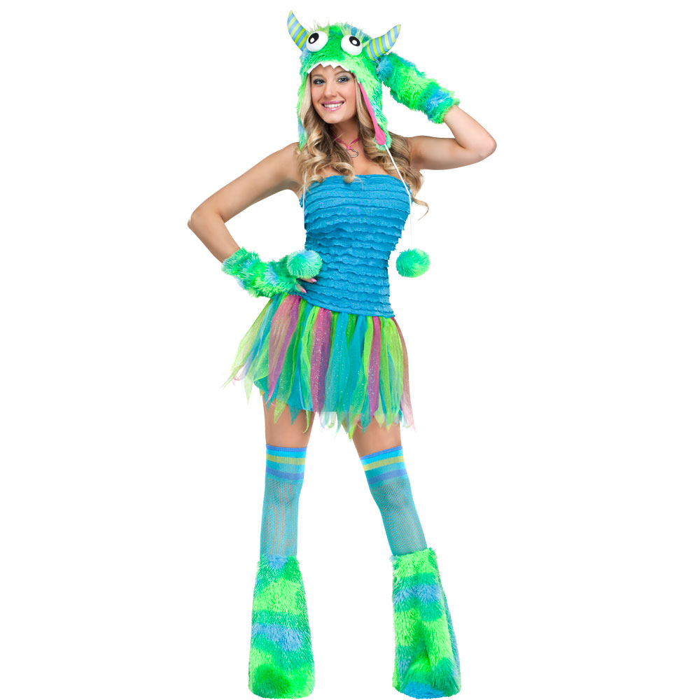 Ladies Monster Costumes for Adult Womens Halloween Trick Treat Party Fancy Dress