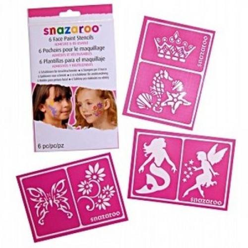 GIRLS - Packet of 6 Child Unisex FACE PAINT STENCILS Accessory for Fancy Dress Unisex Kids Girls