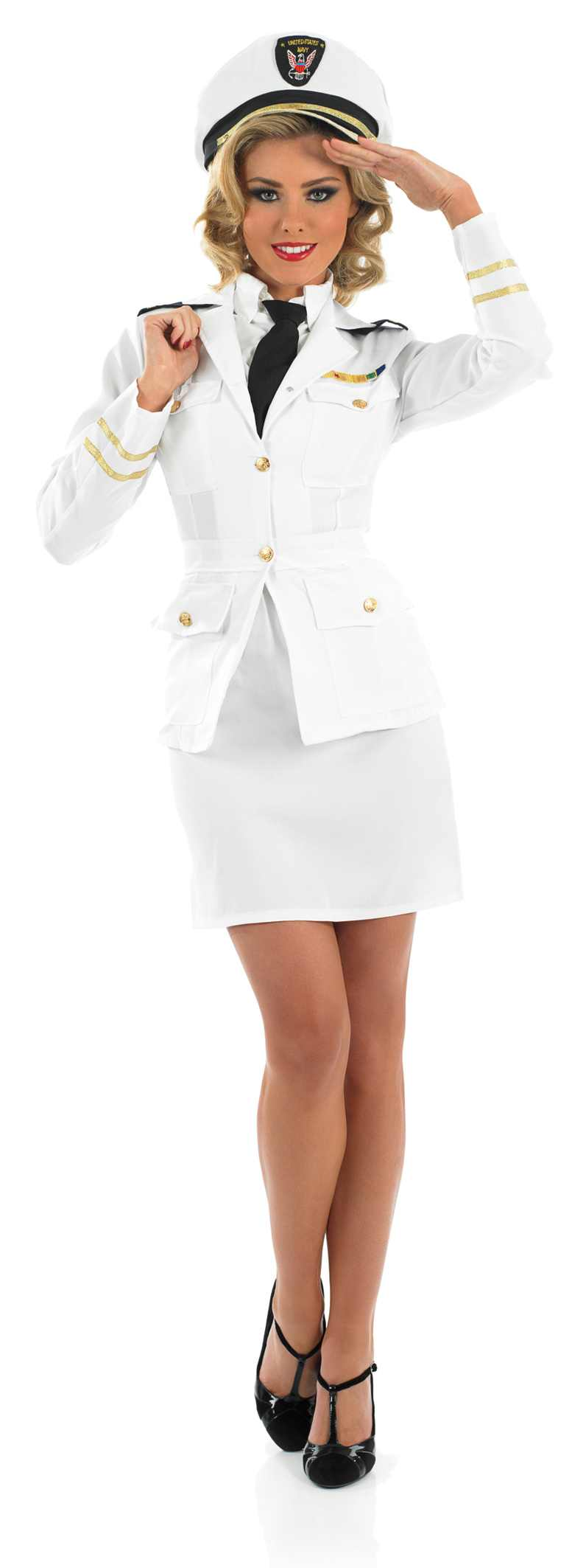 Ladies 40S Lady Naval Officer Costume for WWII War Time Fancy Dress Up Outfits
