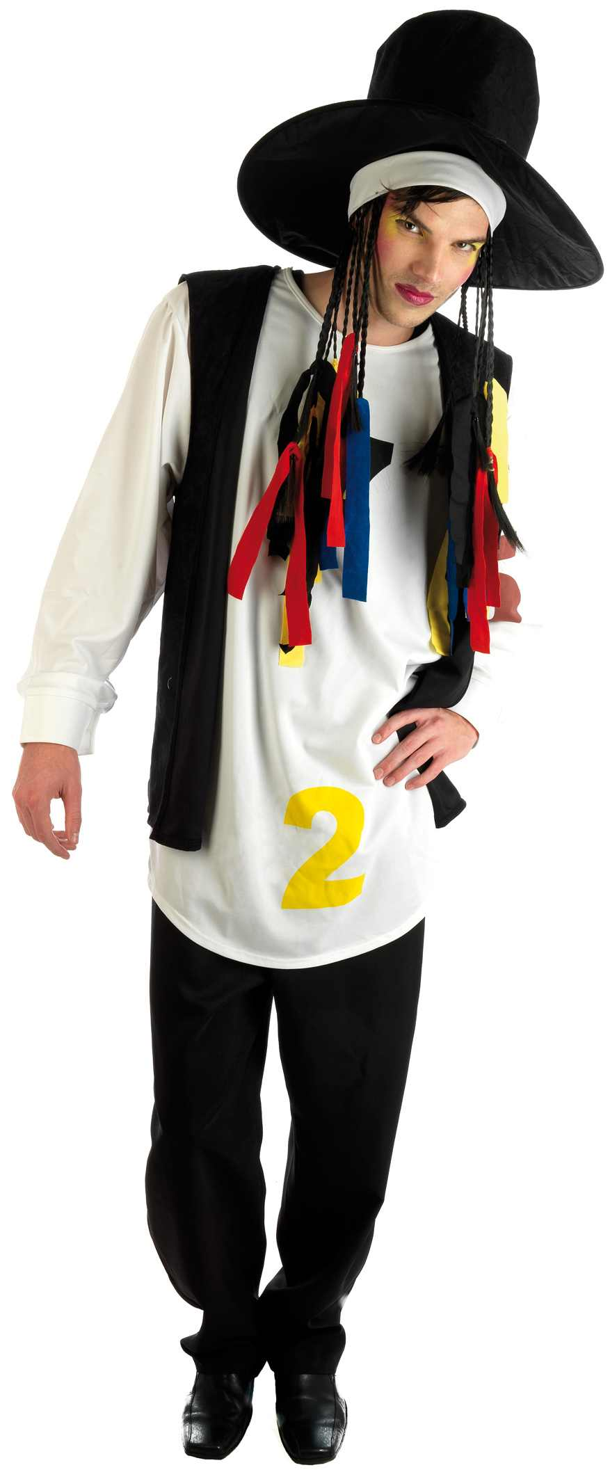 Mens 80s Pop Star Costume For Disco Music Boy George Fancy Dress Up