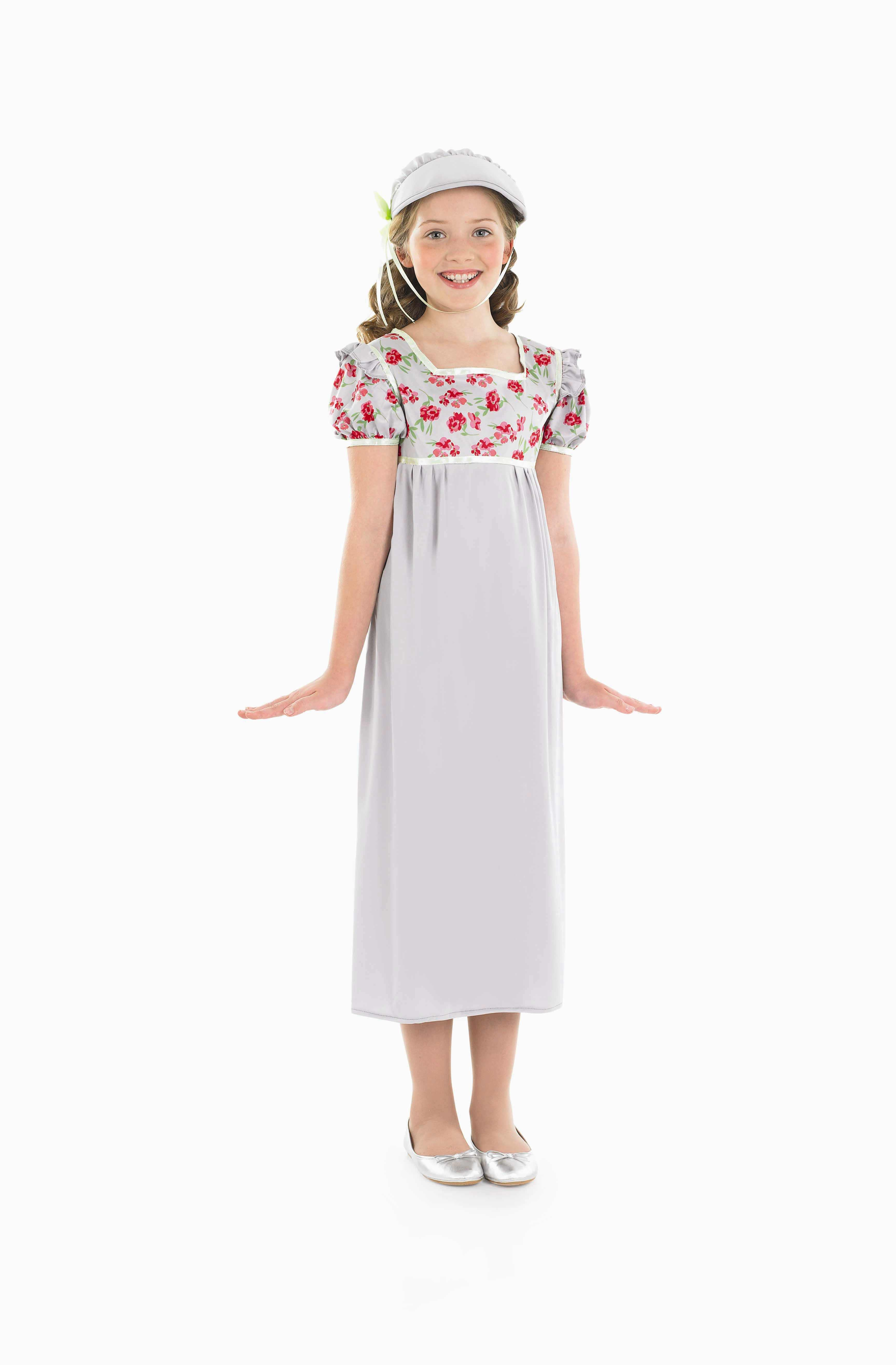 Girls Regency Girl Costume for Historic Book Day Fancy Dress Up Outfits