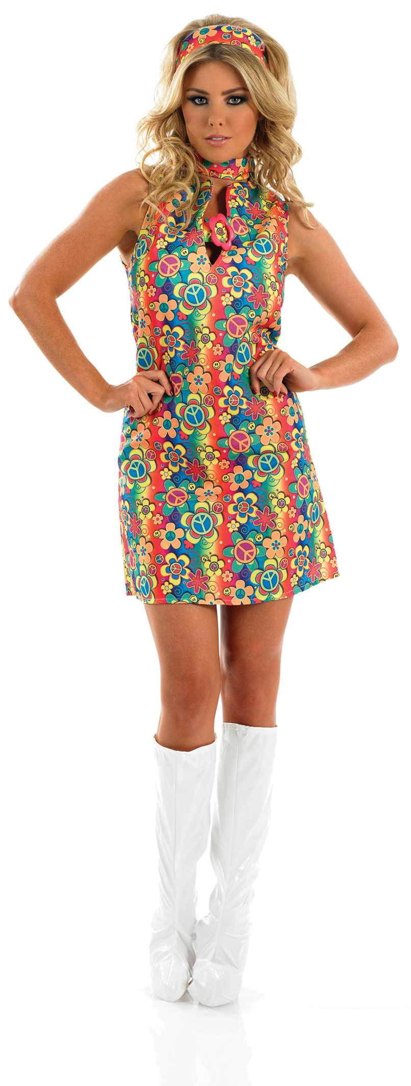 Ladies Uv Floral Hippie Costume For 60s 70s Hippie Hippy Fancy Dress Up Outfits | EBay