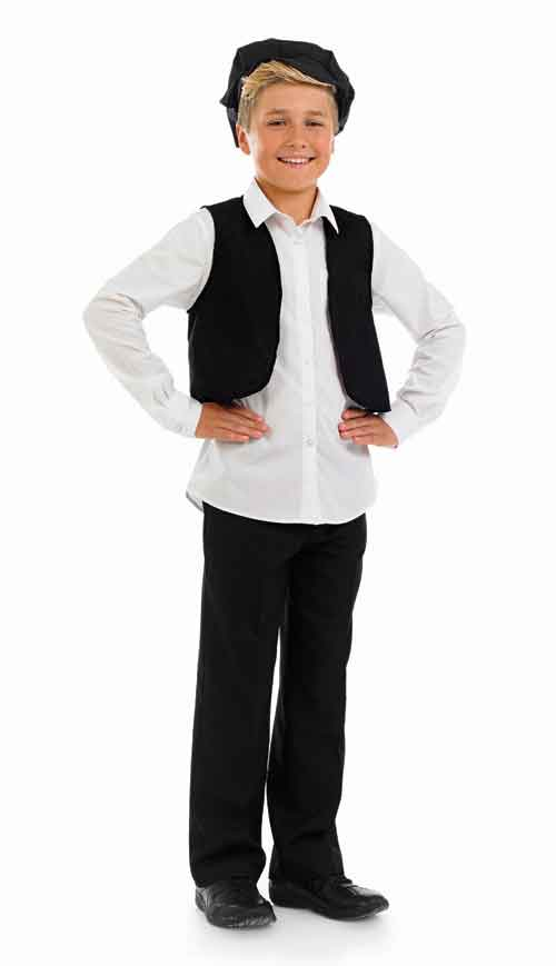 Boys Victorian Cap & Waistcoat Costume for Historic Book Day Fancy Dress Up Outfits