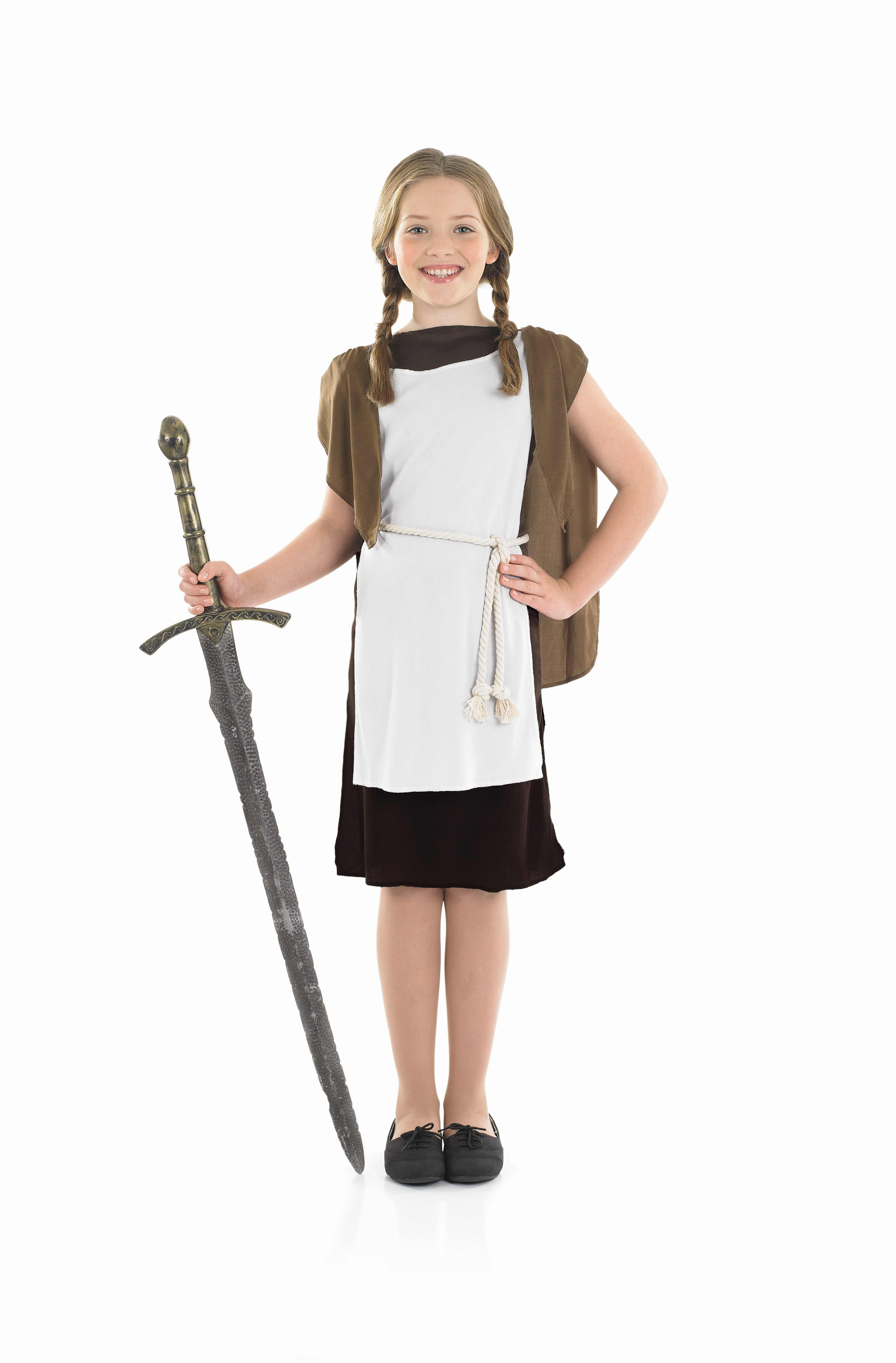 Girls Viking Girl Costume for Historic Book Day Fancy Dress Up Outfits