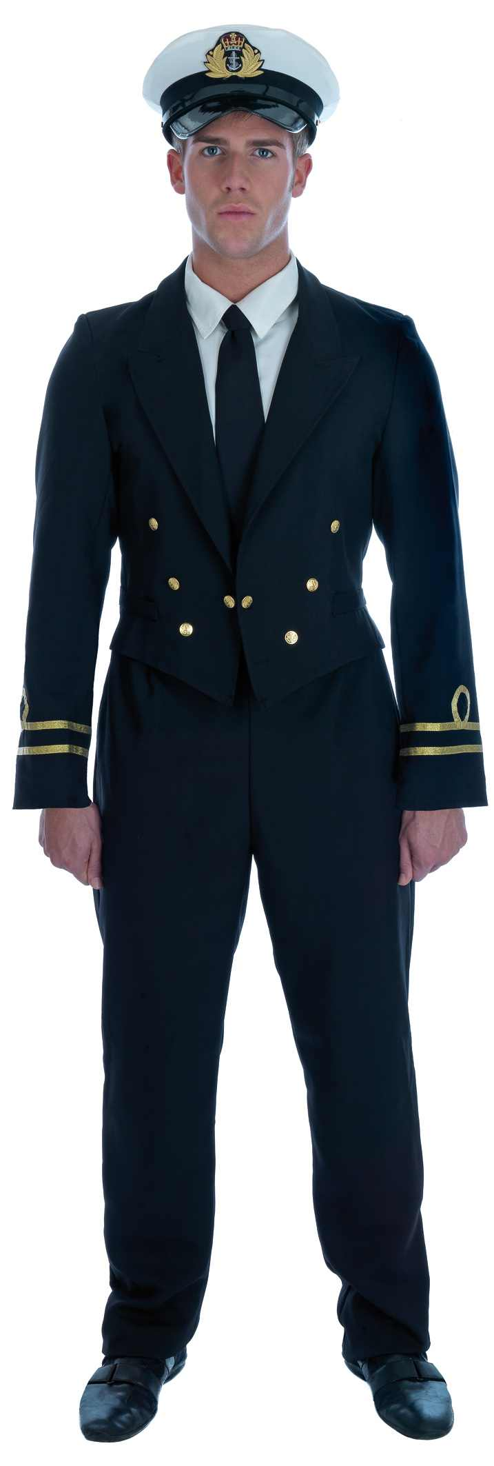Mens WW2 Naval Officer Costume for Navy Sailor Fancy Dress Up Outfits