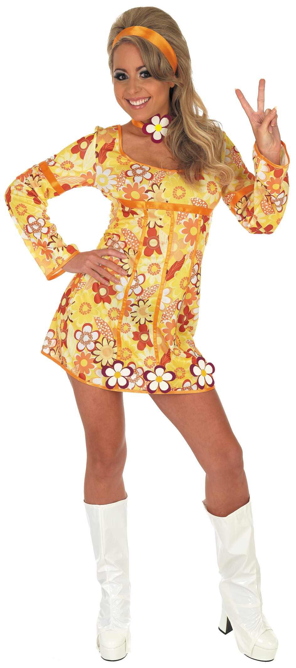 Ladies Yellow Hippie Dress Costume For 60s 70s Hippie Hippy Fancy Dress Up Outfi Ebay