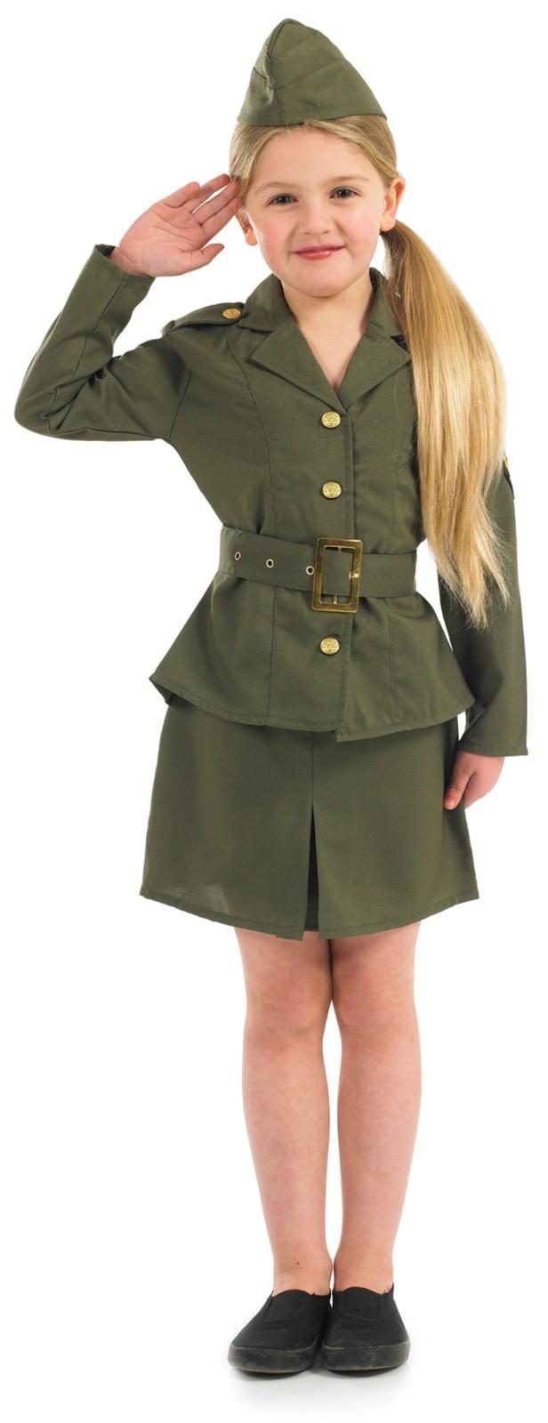 Girls-Ww2-Army-Girl-Costume-For-Military-Soldier-  sc 1 st  eBay & Girls Ww2 Army Girl Costume For Military Soldier Fancy Dress Kids ...