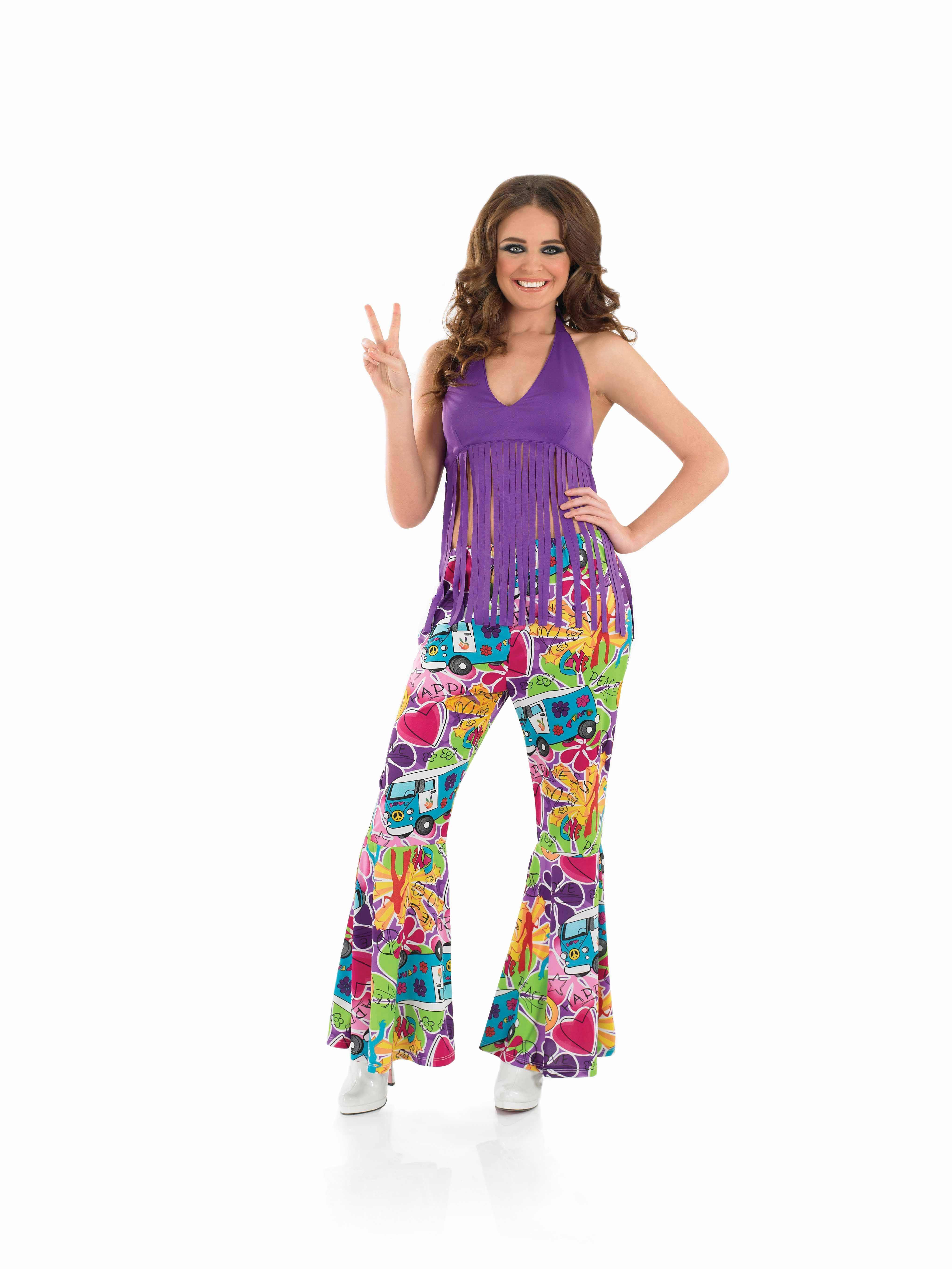 Unique  Hippie Disco Groovy Flower Power Women Dress Up Costume SmallMedium
