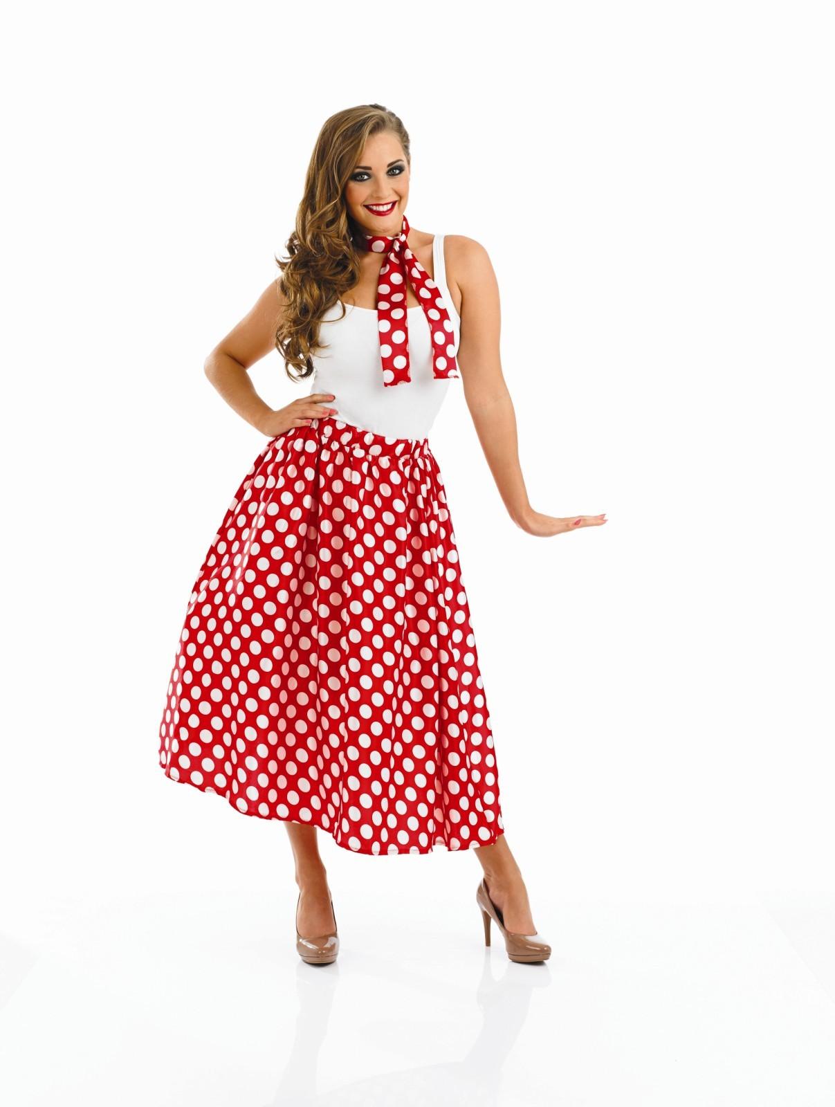 Ladies 1950s Rock N Roll Skirt Costume For 50s Fancy Dress Adults Womens | eBay