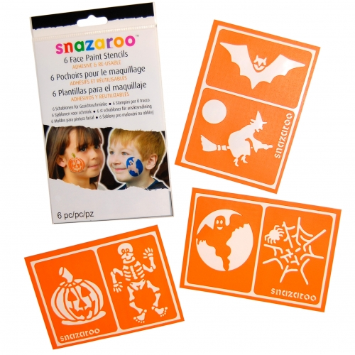 REUSABLE HALLOWEEN - Pkt 6 FACE PAINT STENCILS Accessory for Trick Or Treat Fancy Dress