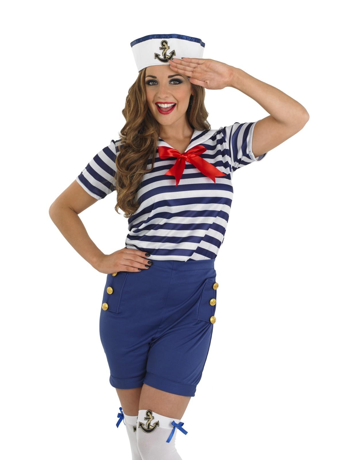 ladies sassy sailor girl costume for navy military fancy. Black Bedroom Furniture Sets. Home Design Ideas