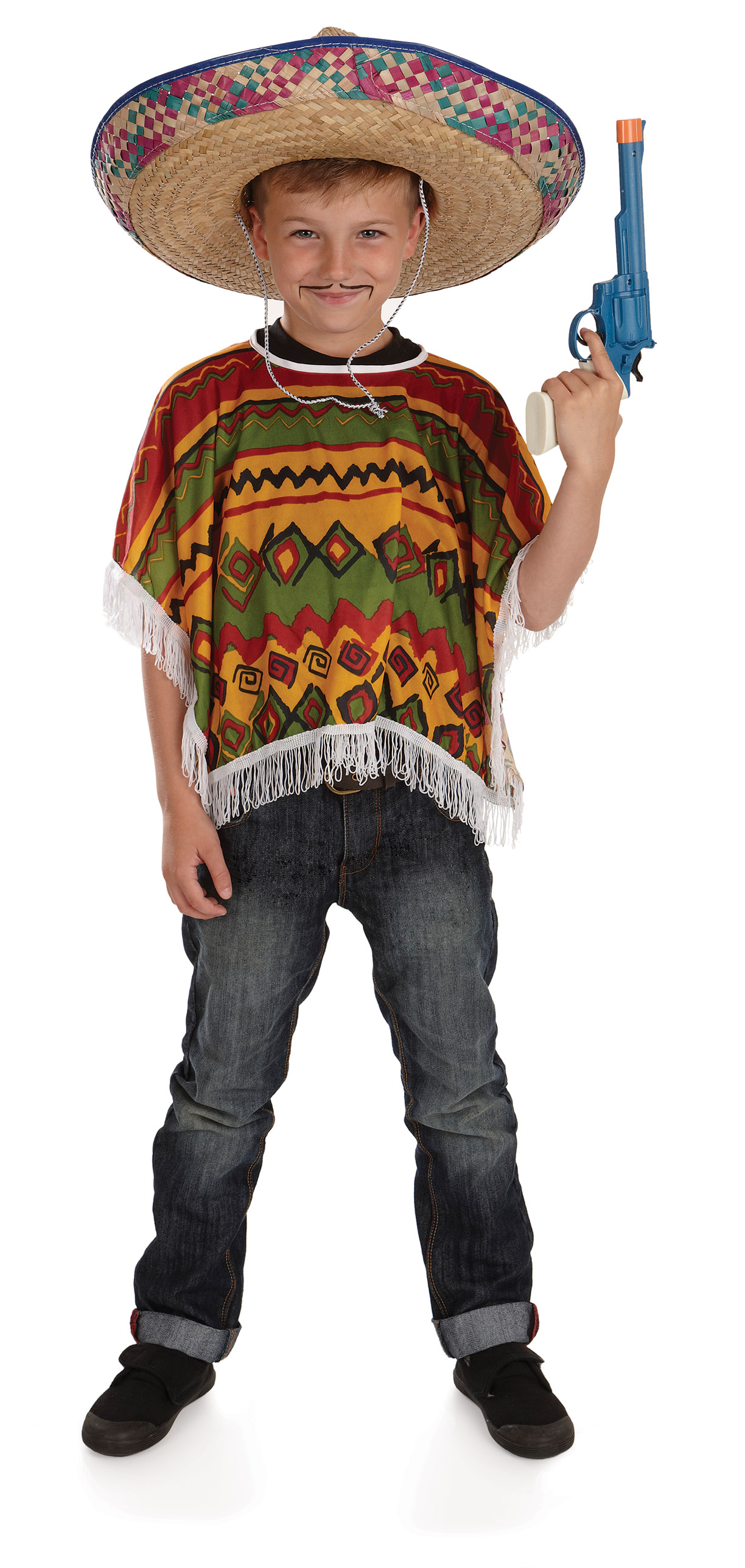 Boys Mexican Poncho Costume For Cowboy Wild West Fancy ...