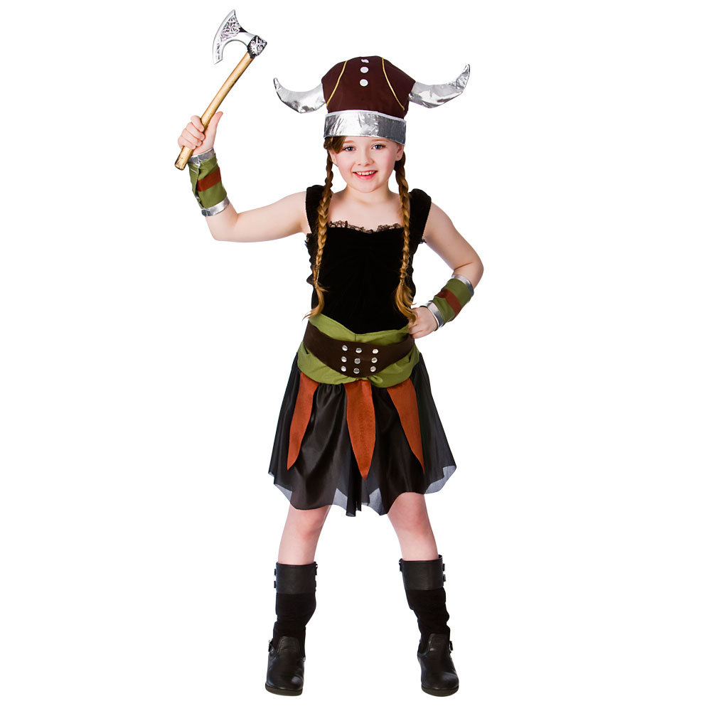 Popular Viking Girl Costume Kids Girls Fancy Dress Celtic Saxon History Sizes