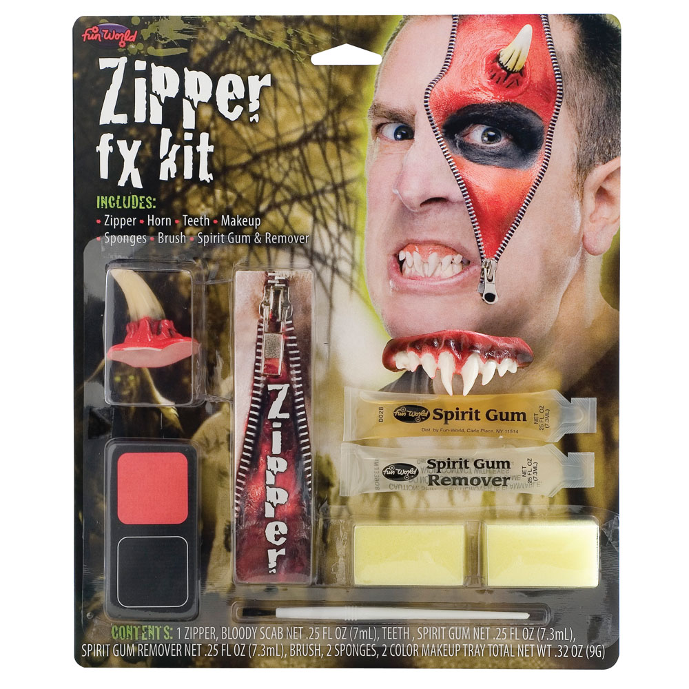 Deluxe Zipper FX Kit Makeup for Makeup Face Body Paint Fancy Dress