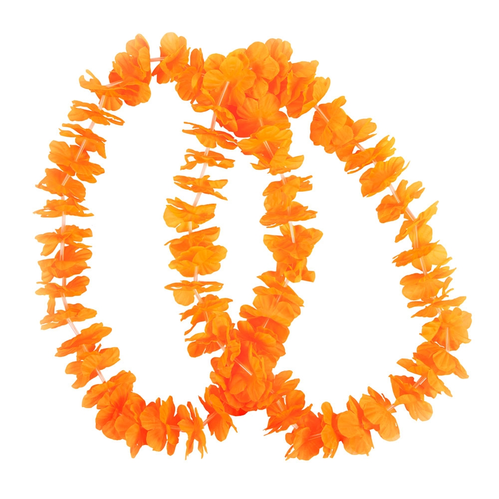 NEON ORANGE Hawaiian Small Petal Lei 2 pc Set Accessory for Tropical Beach Fancy