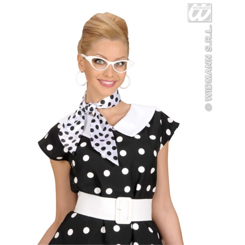 Satin Dotted Neck Sashes Scarf for 50s 60s Rock n Roll Rockabilly Fancy Dress