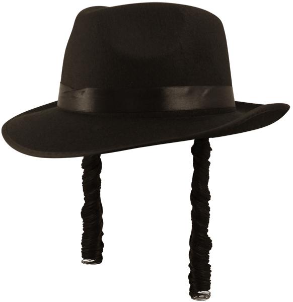 Mens Orthodox Black Fedora Hat Hair For Jew Jewish Yiddish