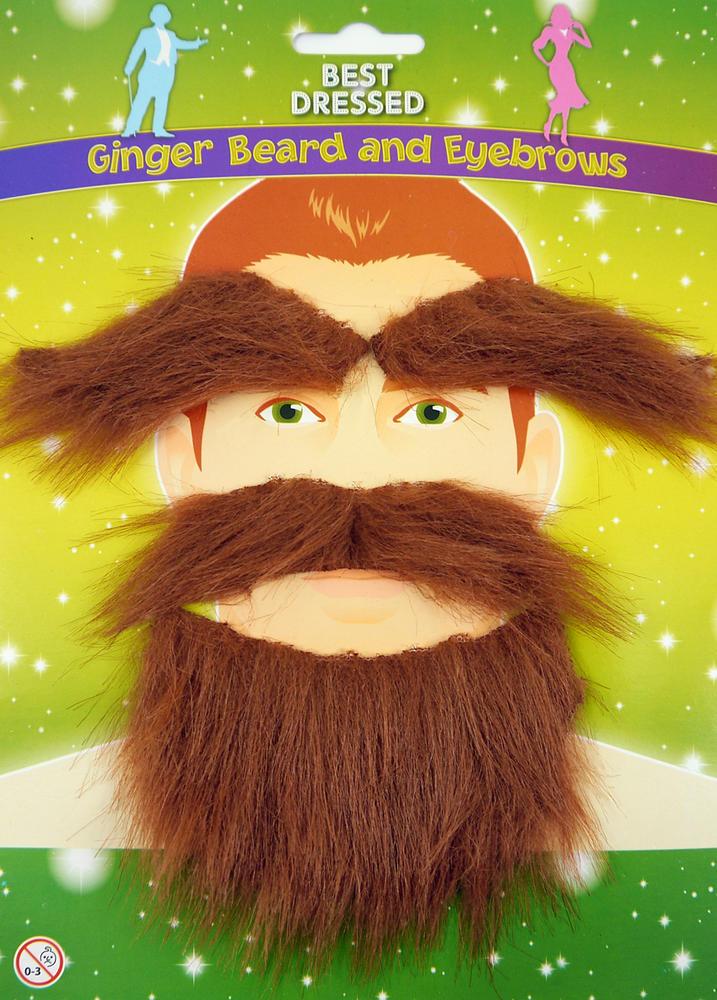 Mens Fake Ginger Beard & Eyebrows Set for Pirate Scot Jock Highland Fancy Dress