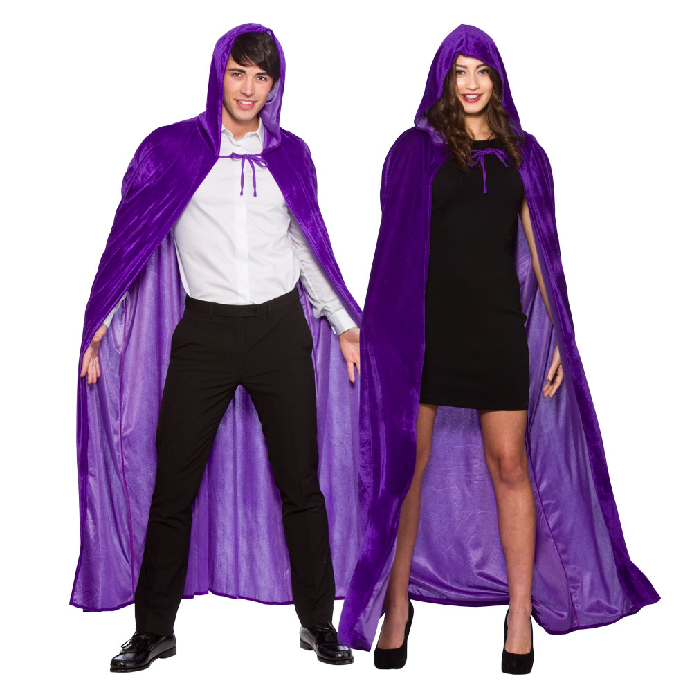 Adults Deluxe Velvet Hooded Cape for Superhero Villian Super Hero Fancy Dress